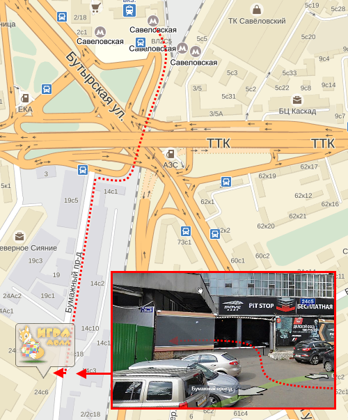 Схема проезда к магазину ИграМолл