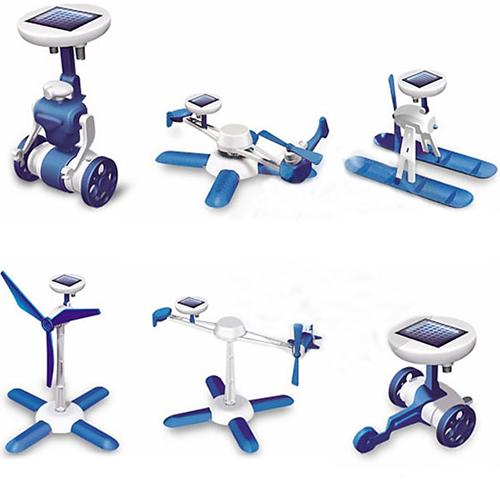 Купить конструктор на солнечных батареях Робот Китс 6 в 1 синий